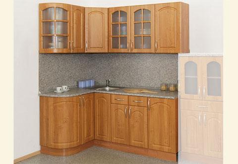 31060. Кухня Трапеза-Классика угловая 1230х1785 с гнутыми фасадами (угол левый). Фасады: МДФ с фрезеровкой Арка