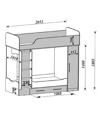 Id 0014 кровать двухъярусная дуэт 2 арт 14